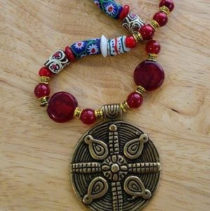 Brass Pendant Blown Glass African Beads Necklace